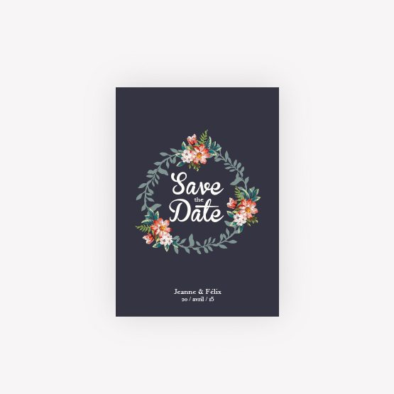 carte save the date fleur vintage