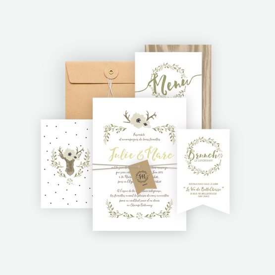 collection faire-part mariage deer