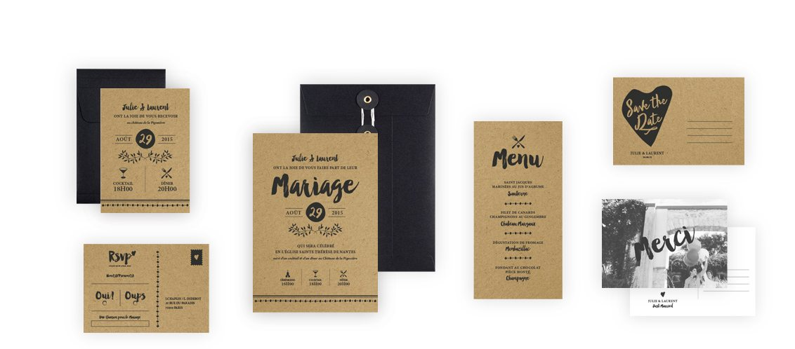 Collection Faire-Part Mariage Love Kraft