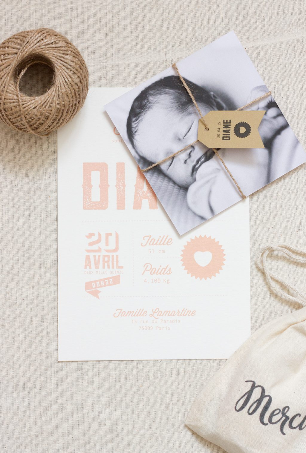 collection faire-part de naissance typo