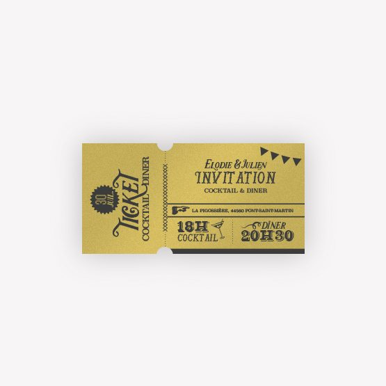carton-invitation papier Or