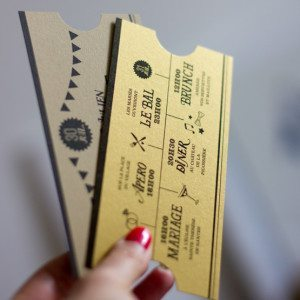 ticket or programme mariage